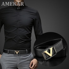 High Quality Designer Belts Men  Fashion V Letter Luxury Famous Brand Genuine Leather Belt Men Class
