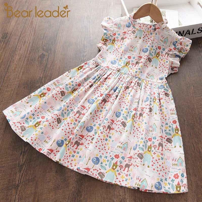 Bear Leader Summer Children Clothing Princess Kids Dresses for Girls Causal Wear Floral Dress Cotton Baby Girls Dress Vestidos