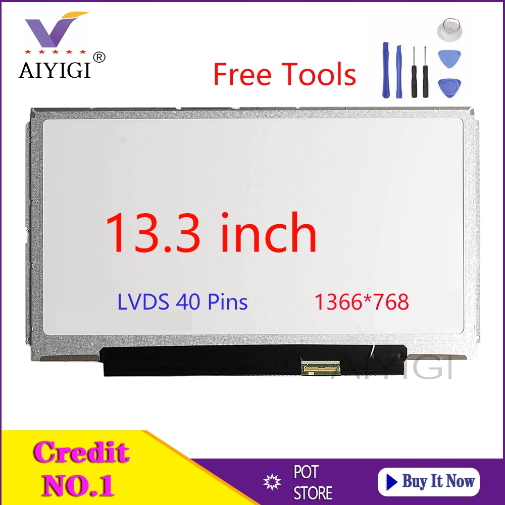13.3 Polegada Laptop Tela LED B133XW01 V.0 B133XW03 V.1 V.4 N133BGE-L31 LTN133AT16 LTN133AT27 CLAA133WA01A Exibição HD 40 Pinos