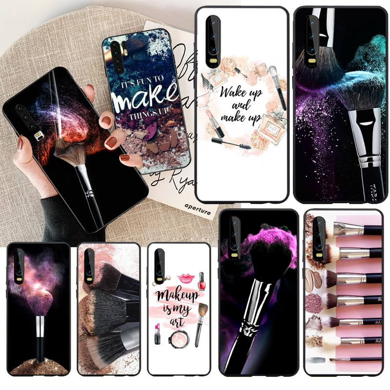 Bonita funda de teléfono CUTEWANAN para pintura de brochas de maquillaje para niñas para Huawei P30 P20 Mate 20 Pro Lite Smart Y9 prime 2019