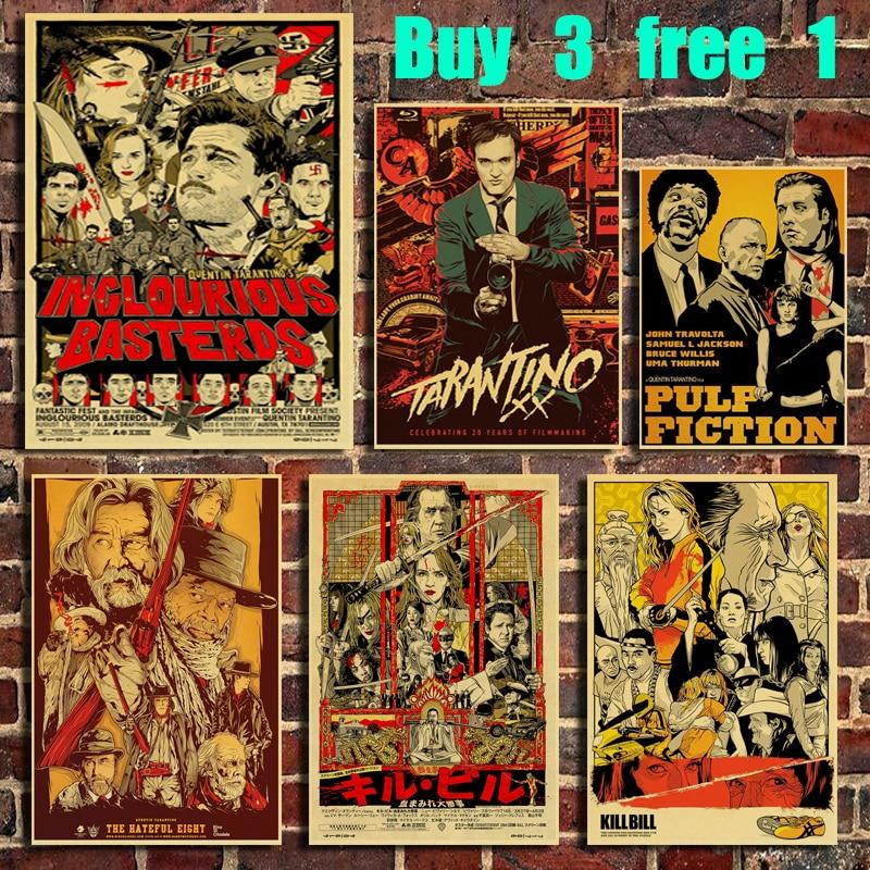 quentin-tarantino-movie-kill-bill-vintage-kraft-paper-poster-bar-office-cafe-home-art-wall-stickers