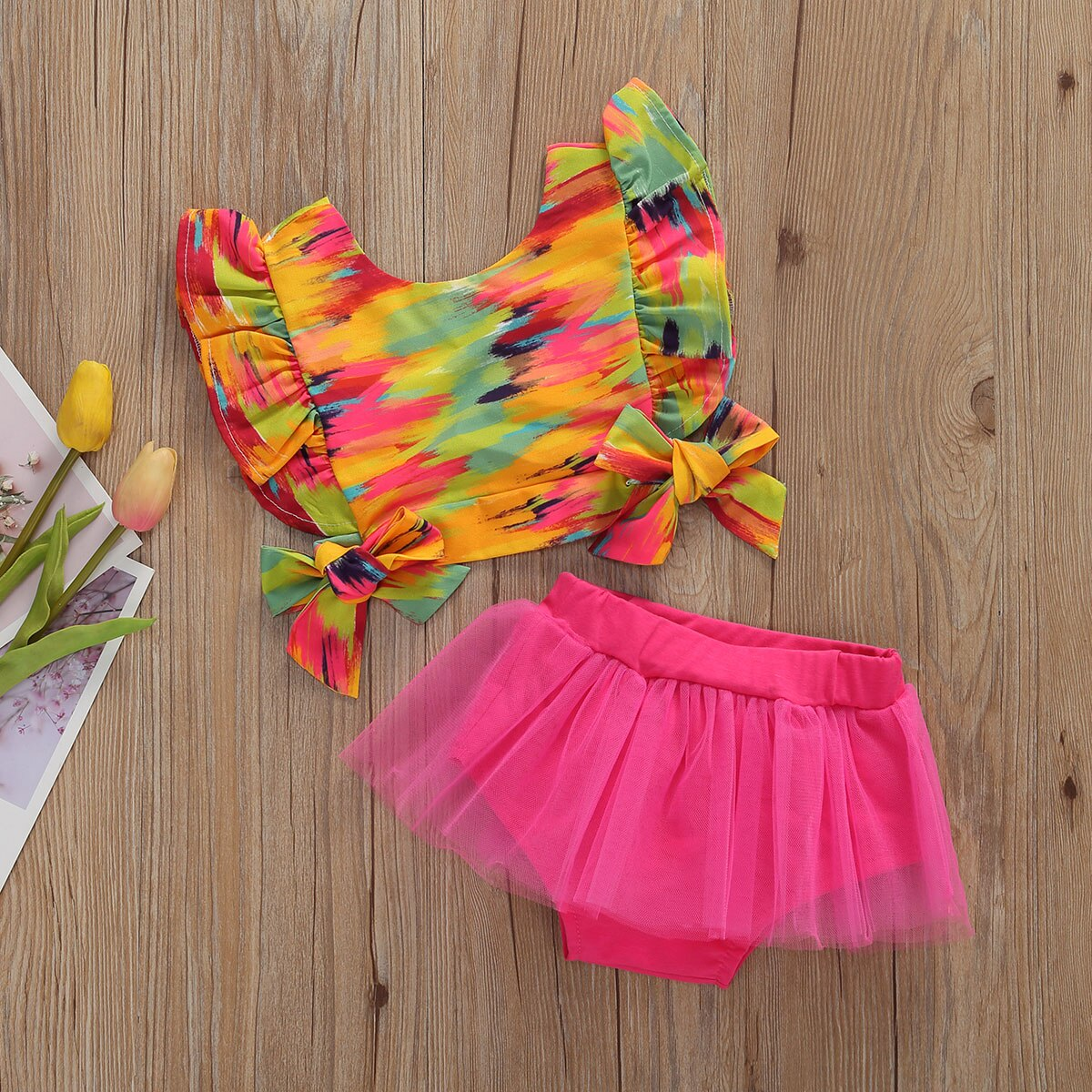Infant Girl Fashion Summer Clothes Colorful Ruffle Trim Sleeve Bowknot Crop Tank + Mesh Shorts Sets 0-12 Months