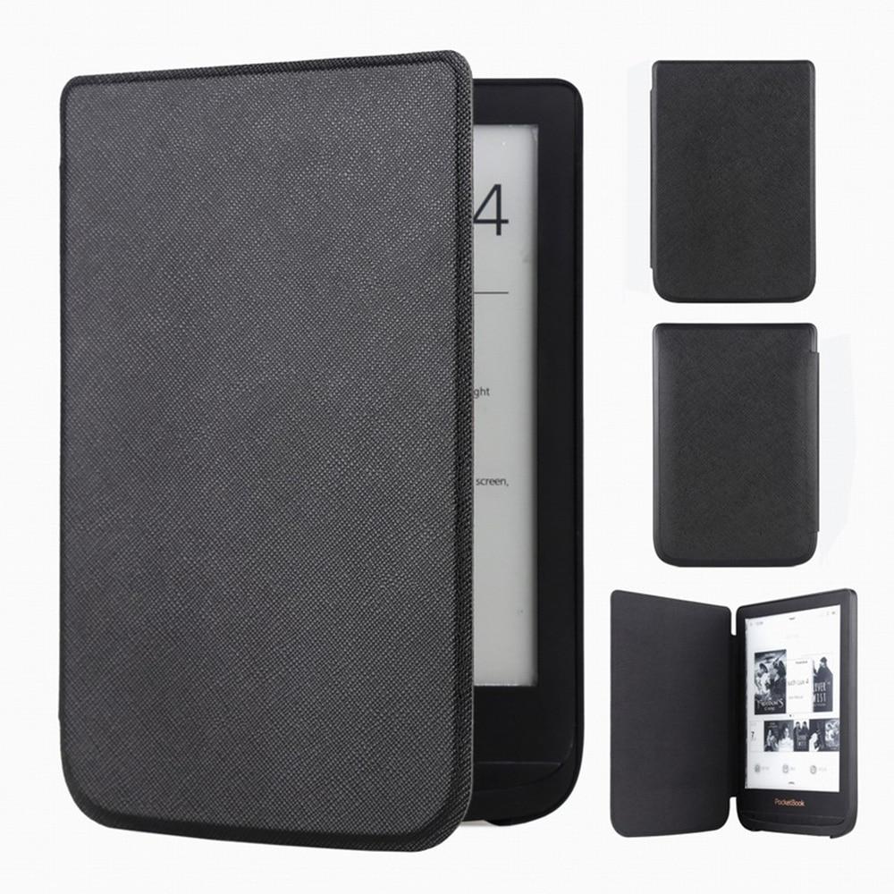 Funda de cuero delgada para Pocketbook Touch Lux 4 627 HD3 632 Basic2 616 Ereader + película de pantalla