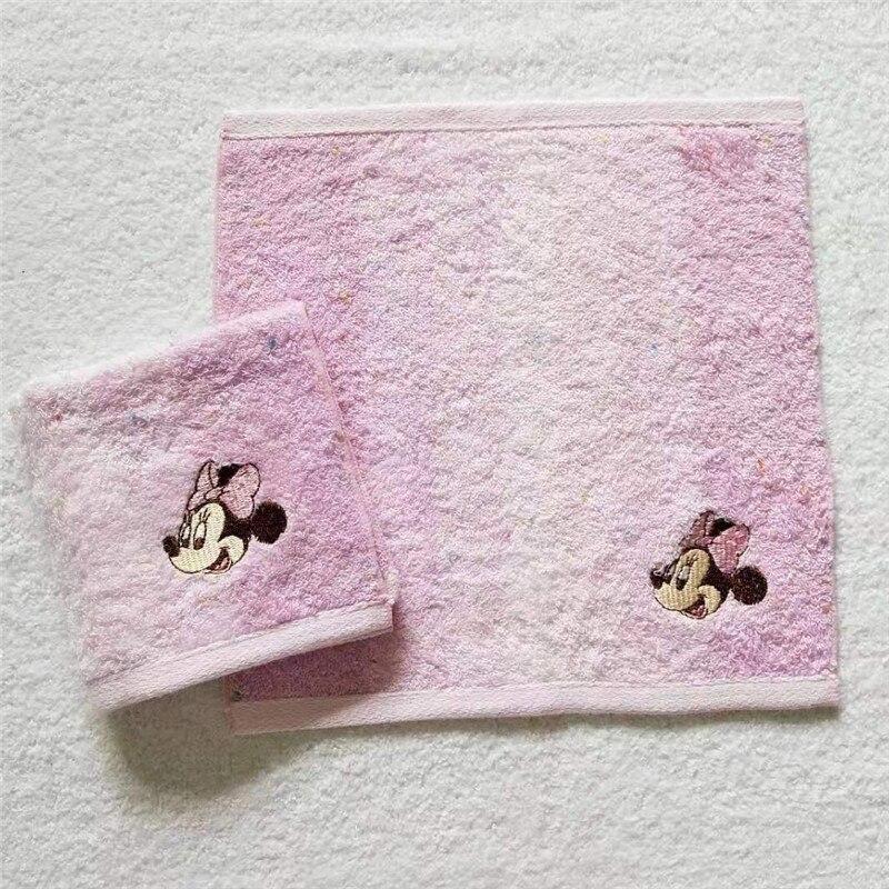 Disney cartoon Minnie cotton monochrome embroidery jacquard seam small square scarf baby saliva towel small towel