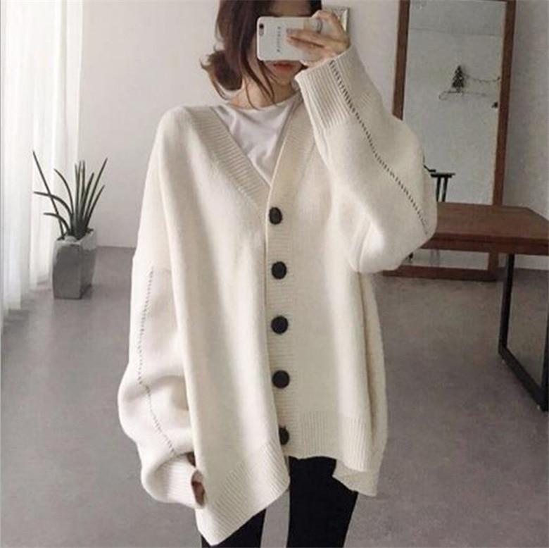Mujer temperamento Cardigan suéter chaqueta suelta para mujer Lazy Color sólido suelta V plomo largo de punto jersey holgado abrigo de manga larga