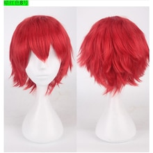 Anime Cosplay Halloween Synthetic Short Wavy Red Silver Golden Yellow Green Pink Purple Orange White Universal Cosplay Wig Bangs