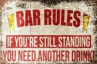 bar rules humorous funny vintage retro style metal sign bar pub man cave