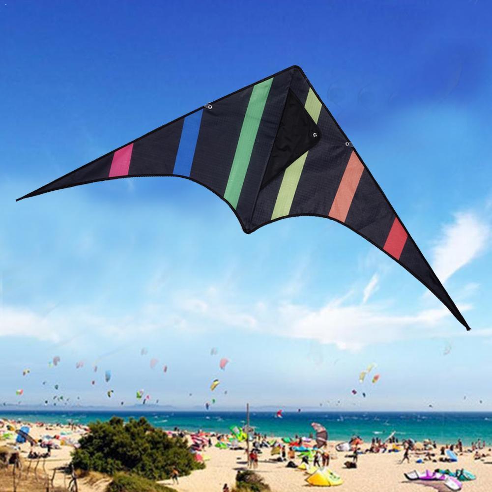 Engraçado ao ar livre preto triângulo kite e 30m linha de pipa com voar lidar com dublê ao ar livre crianças brinquedo duro-alado kite triângulo n3l9