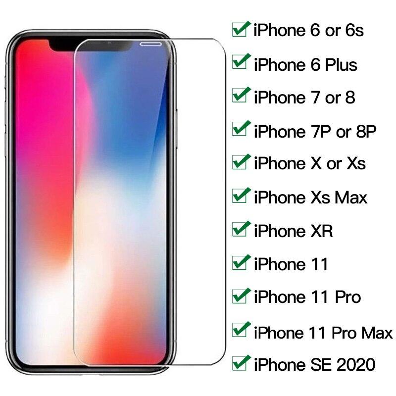 Protecteur d'écran pour iphone, en verre trempé pour modèles 7 8 6 6s Plus X XR XS Max 11 pro SE