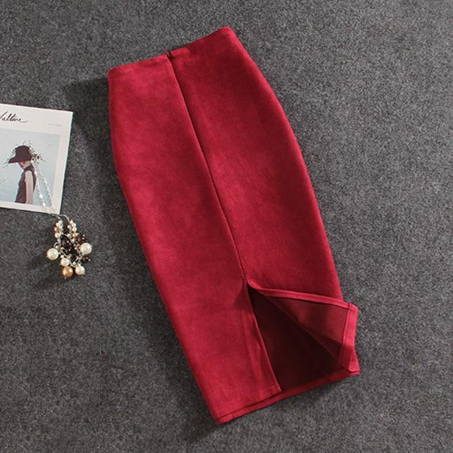 Женские юбки из замши, толстая юбка стрейч, женские юбки-карандаш размера плюс, Faldas Mujer