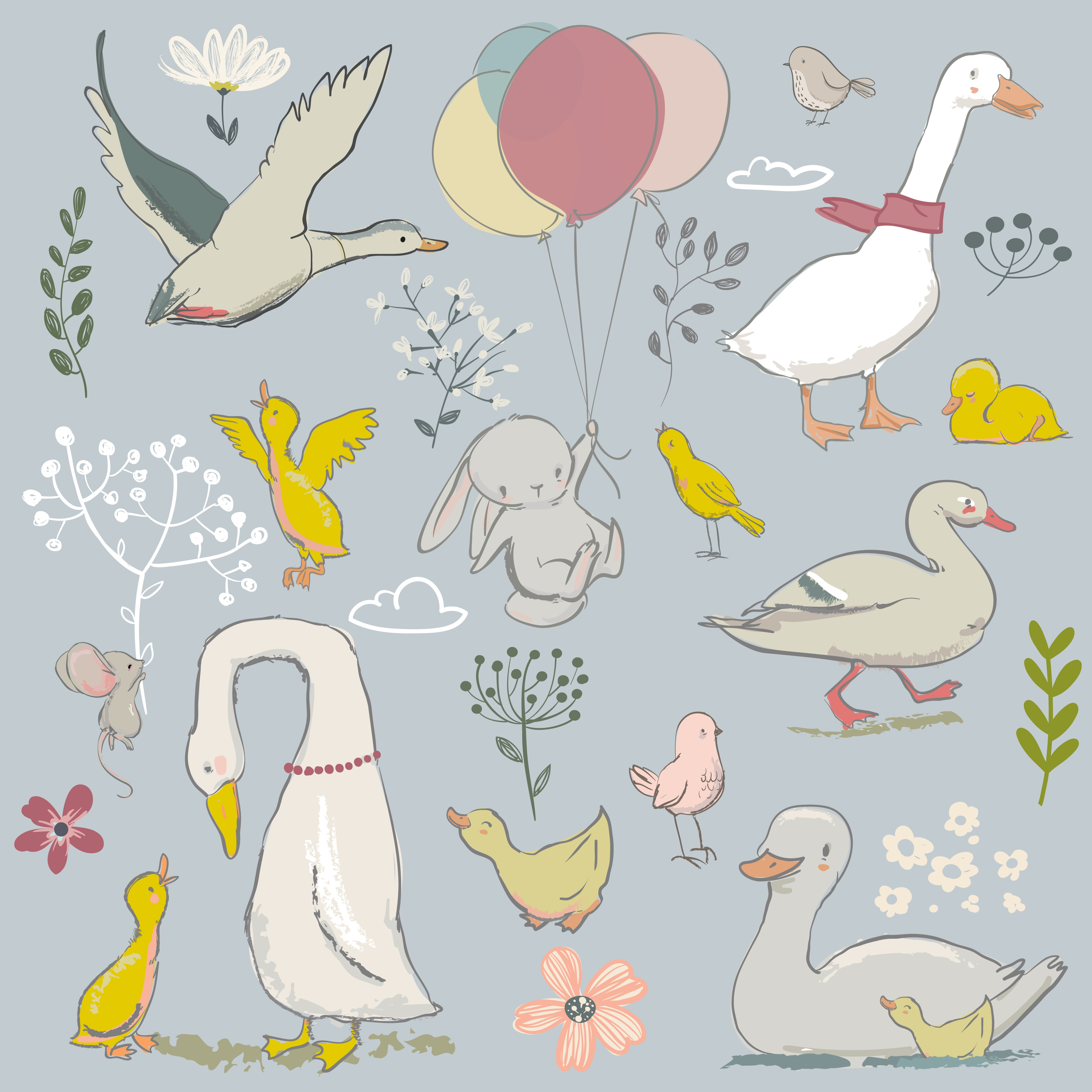 Cutting Dies Ducks and Rabbits Holding Balloons DIY Scrap Booking Photo Album Embossing Paper Cards 105*101mm