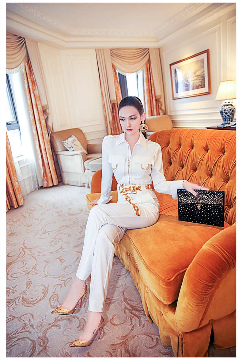 spring and autumn office lady fashion brand female women girls long sleeve white jumpsuits clothing
