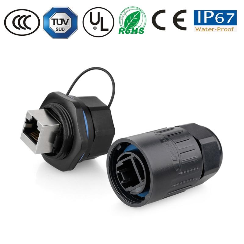 Conector impermeable pastic IP67 RJ45 Junta impermeable 1/4 puerto de tarjeta conexión de red Ethernet conector 8P8C