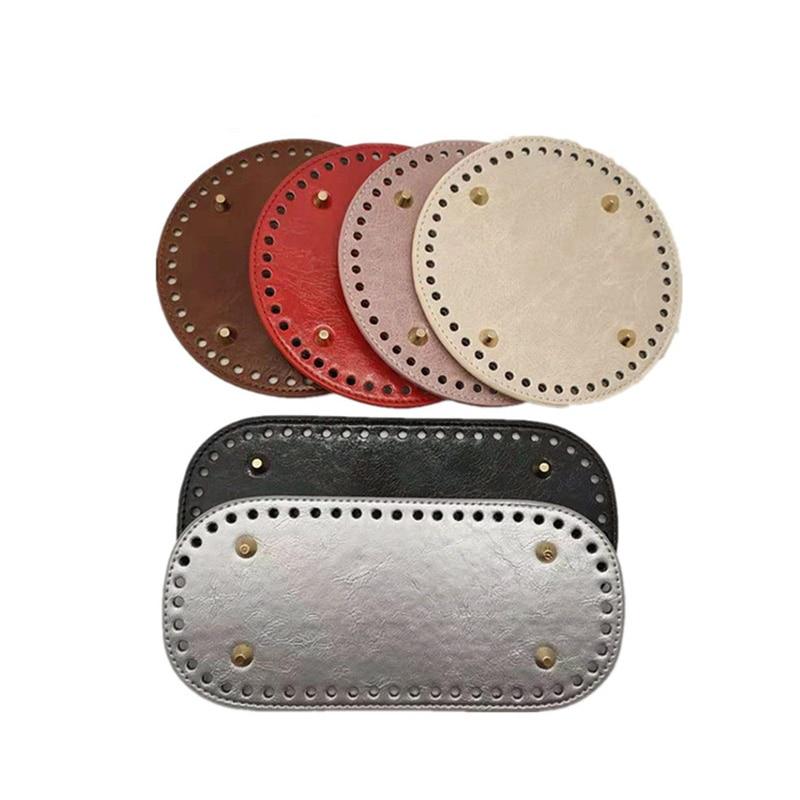 Planta de cuero redonda de 14cm y 15cm de calidad con agujeros, remache de fondo redondo para tejer bolsas de mujer, bolsas hechas a mano, accesorios para bolsos DIY
