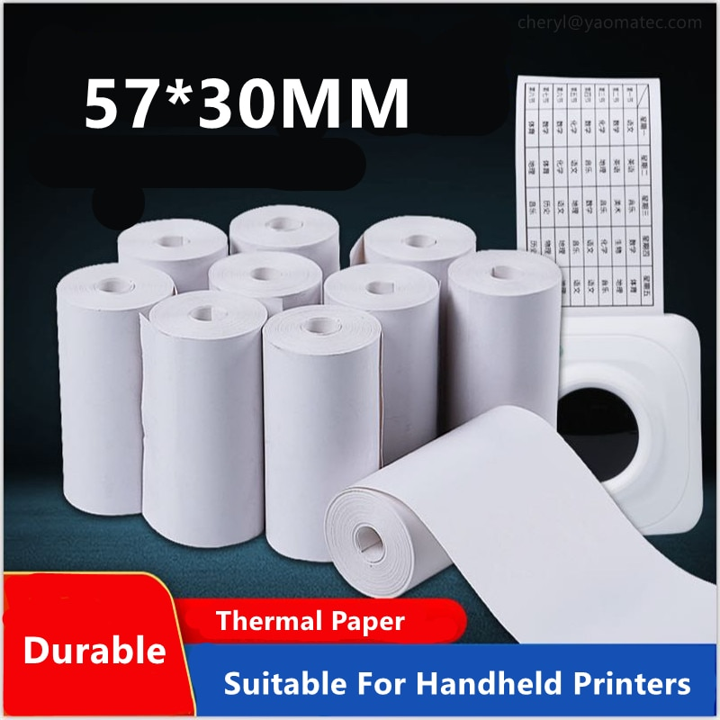 57x30mm (2.17*1.18inch) Receipt Thermal Paper Printing Label Roll for Mobile POS Photo Printer Office Stationery