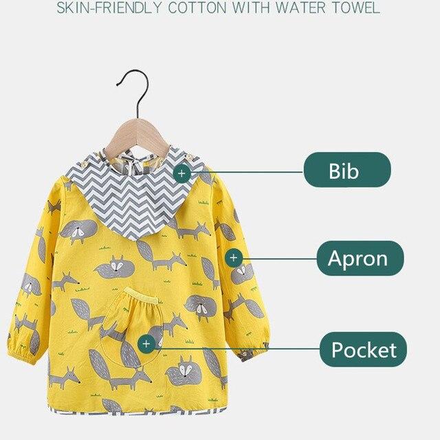 Fashion Cotton Baby Bibs Waterproof Kid Eating Clothing Children's Long Sleeves Feeding Smock Bib Baby Apron Bandana Bebes Bibs 4