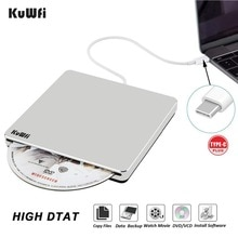 Inhalación automática USB-C unidad externa quemador DVD CD VCD lector RW Rewriter Writer Player para Laptop/escritorio Windows MAC OS
