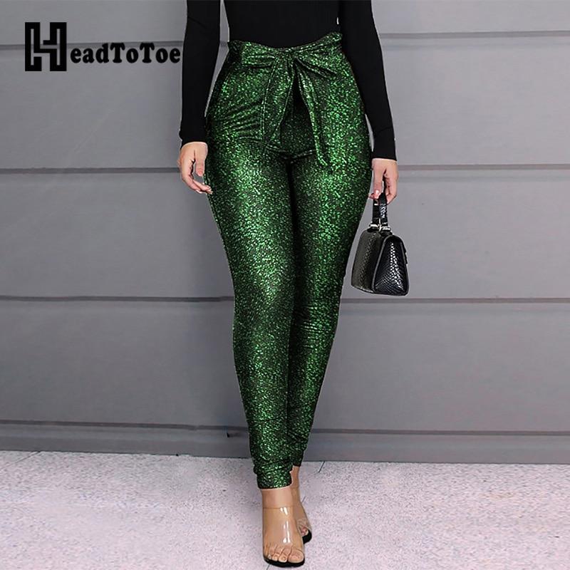 Alta cintura con cinturón brillante Mujer Pantalones Skinny pantalones pitillo Casual