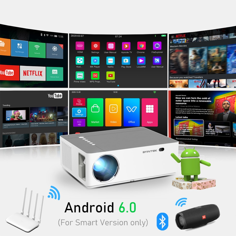 BYINTEK Brand K20 Full HD 1080P 1920x1080 Smart Android Wifi LED Video Game Home Theater 3D Projector Beamer For 300inch Cinema