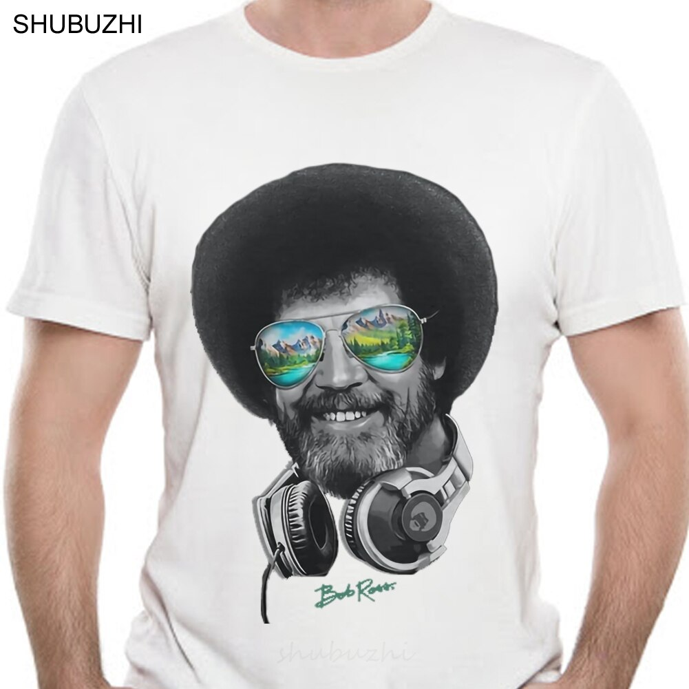 Dj Bob Ross Officially Licensed Headphone Shades T Shirt Tee Shirt Casual Short Sleeve fashion t-shirt men cotton brand teeshirt