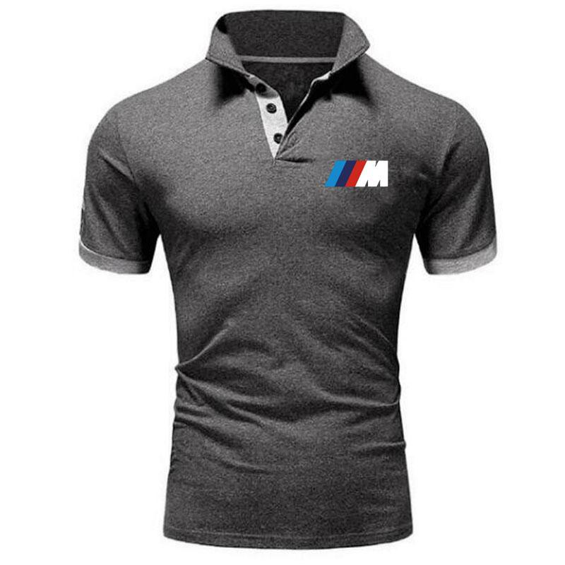 2021 NEW Summer BMW short Sleeve Polo men Turn-over Collar fashion casual Slim Breathable Solid Colo