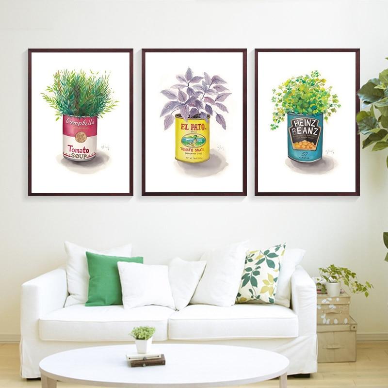 Botella enlatada, pequeña, amarilla, verde, púrpura, planta con hojas, lienzo, pintura, arte de pared, imagen, póster e impresión, decoración del hogar, sin marco