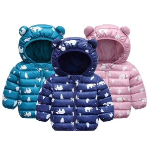 New Baby Boys Jacket Autumn Winter Cartoon Bear Coat For Boys 5 Color Warm Hooded Outerwear Children Clothes Infant Boys Coat