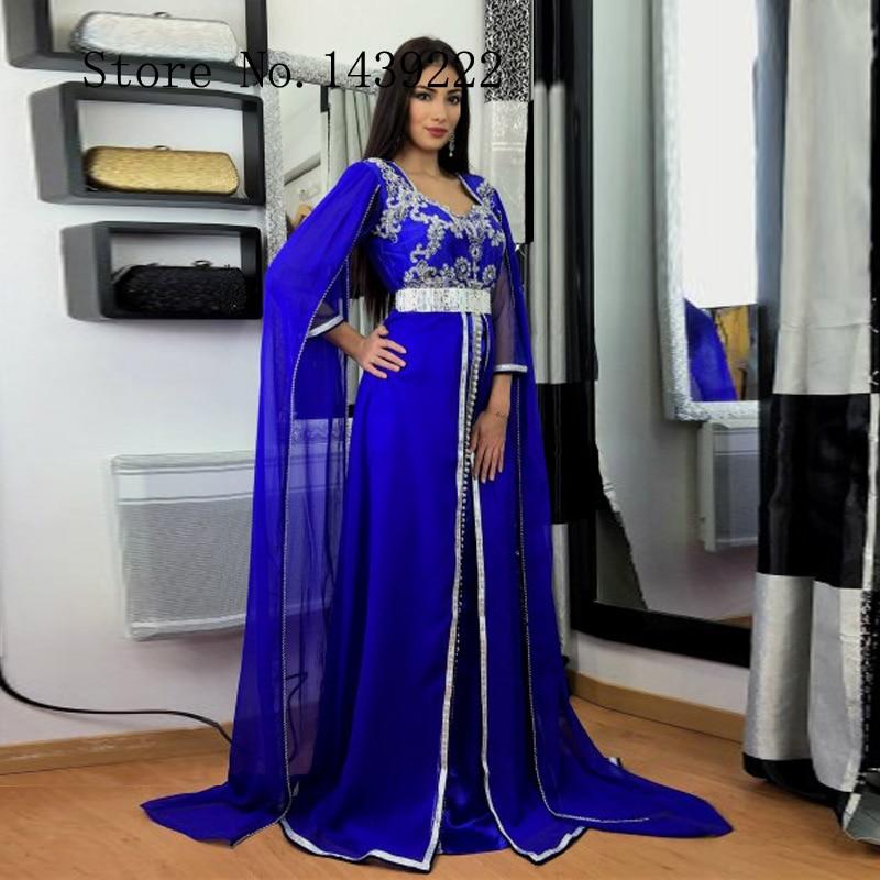 Azul real marroquino kaftan chiffon vestidos de noite longo contas apliques rendas árabe saudita muçulmano ocasião especial robe de soiree