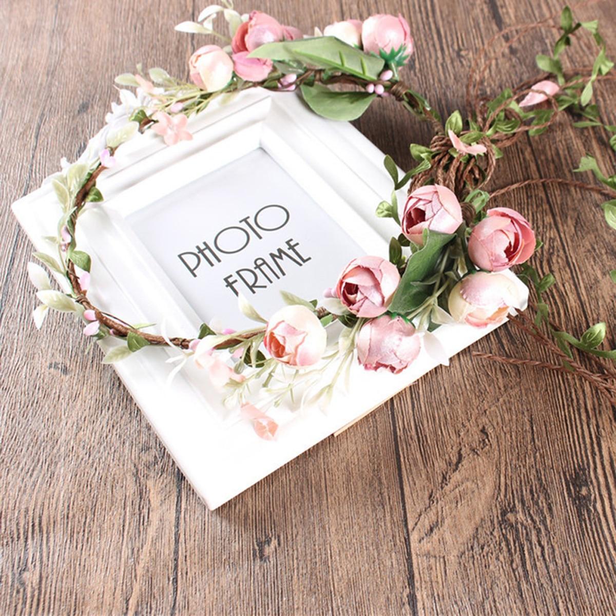 2020 primavera coronas de flores bohemias playa Hawai Floral guirnalda romántica falsa...