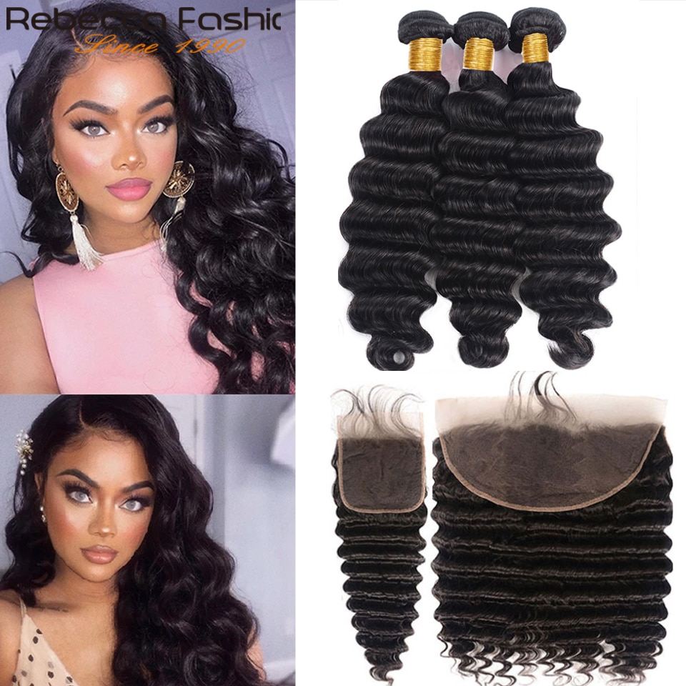 Loose Deep Wave Bundles with Closure 8-30 Inch Frontal With Bundles Brazilian 100% Remy Human Hair 3/4 Bundles With Closure