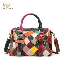 2021 Colorful Natural Leather Famous Brand Luxury Ladies Patchwork Large Purse Handbag Shoulder bag