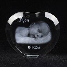 Coeur personnalisé cristal Sculpture cadre Photo avec votre Image gravé Album Photo personnalisé famille mariage animaux Souvenirs