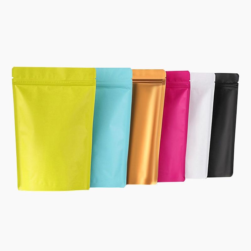 1000 pçs/lote levante-se fosco saco da folha de alumínio colorido doypack café chá embalagem saco eco-amigável presente bolsa