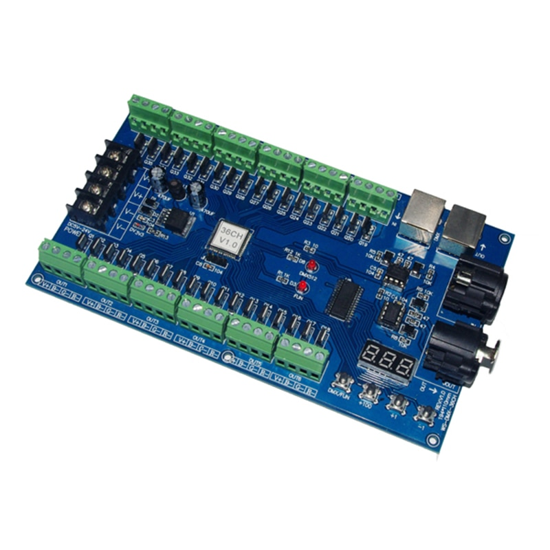 36CH led DMX512 decoder DC5V-36V 36 channel 12 groups DMX decoderdimmer DMX512 XRL 3P led controller 36A(5V-24V),25A(25V-36V) enlarge