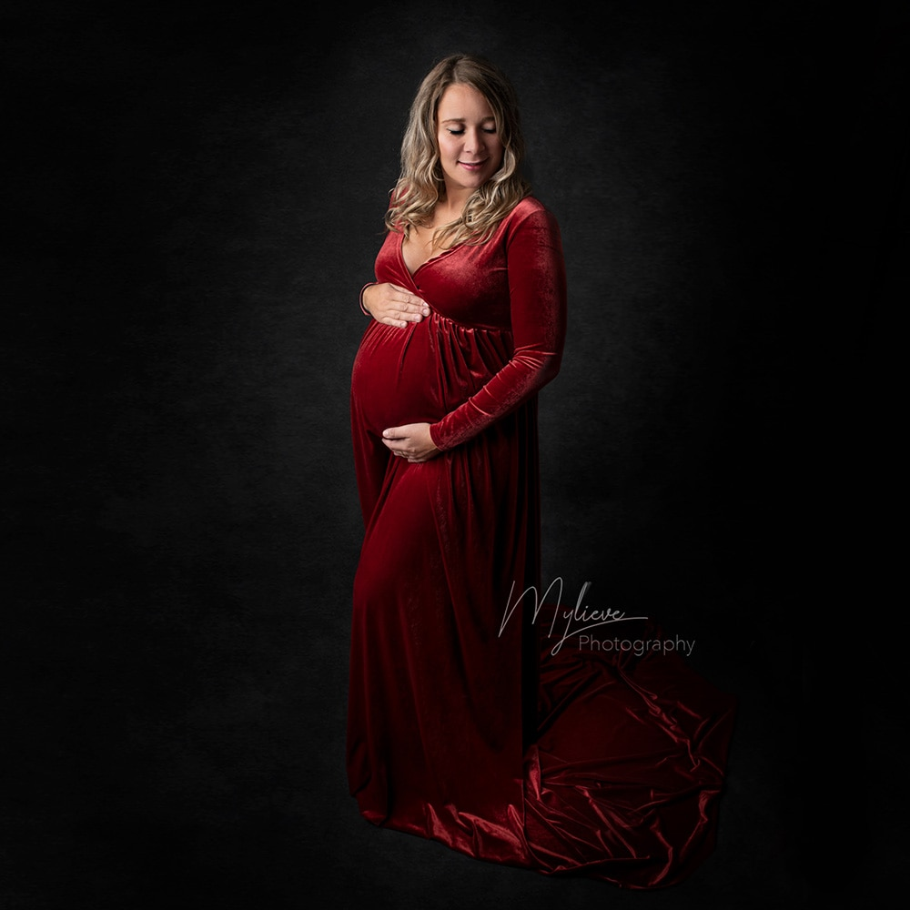 Don&Judy Christmas Maternity Dresses For Photo Shoot Clothes Party Gown Pregnancy Dress Maternity Props for Pregnant Women enlarge