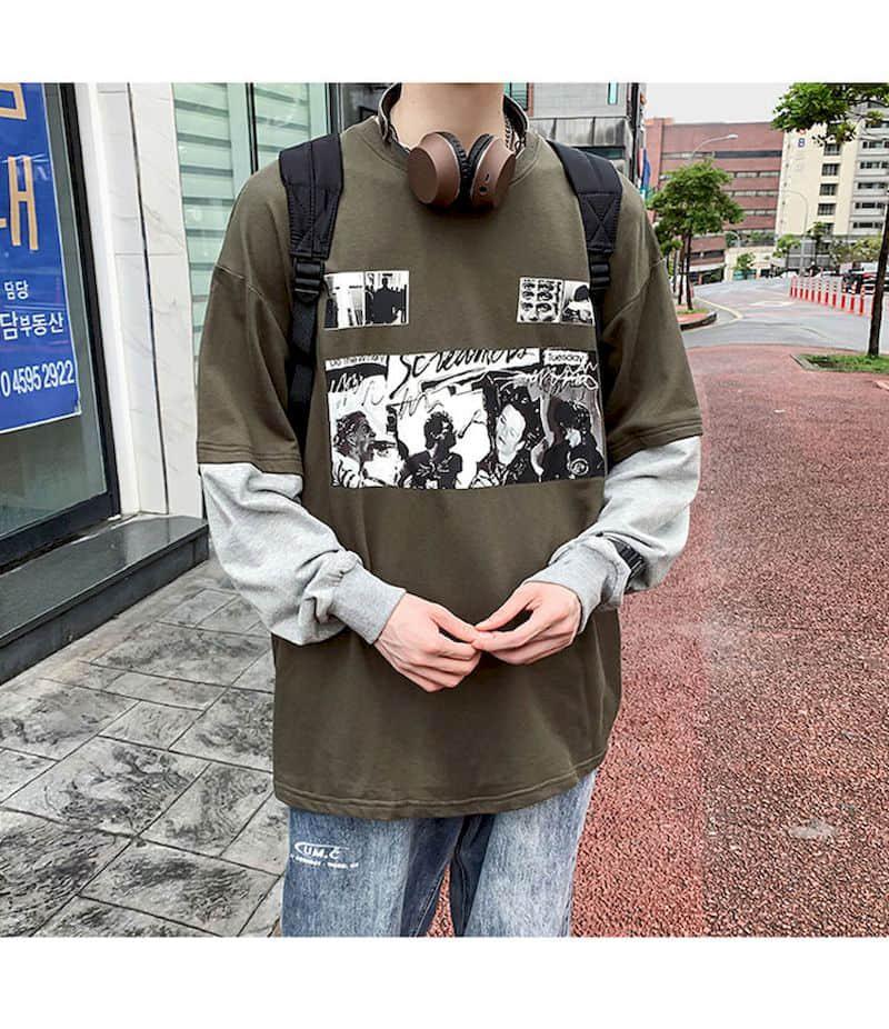Autumn Harajuku Tops Men Tshirt Women T Shirt Fake Two-piece Jacket Long-sleeved T-shirt Male Students Korean Loose Top Clothes