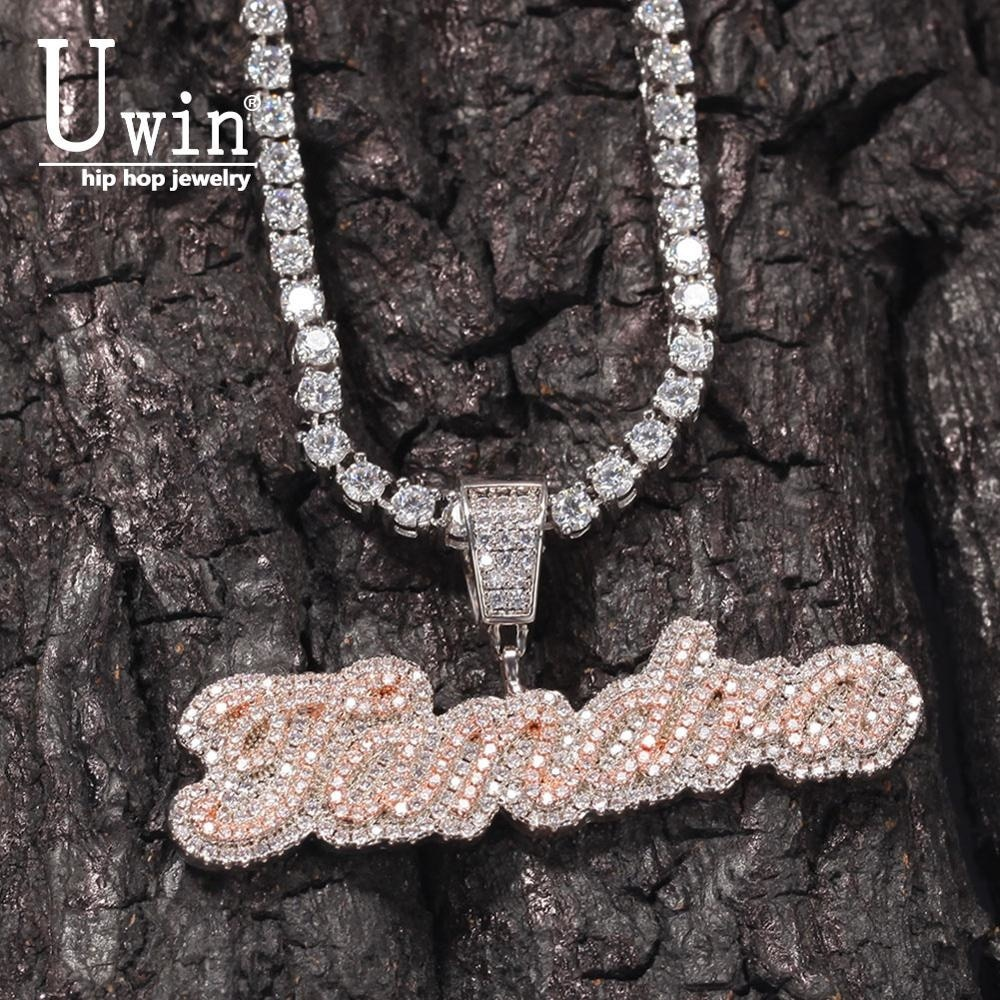 Get Uwin Small Custom Name Necklace Cursive Letter With Tennis Chain Cubic Zirconia Fashion Hiphop Jewelry