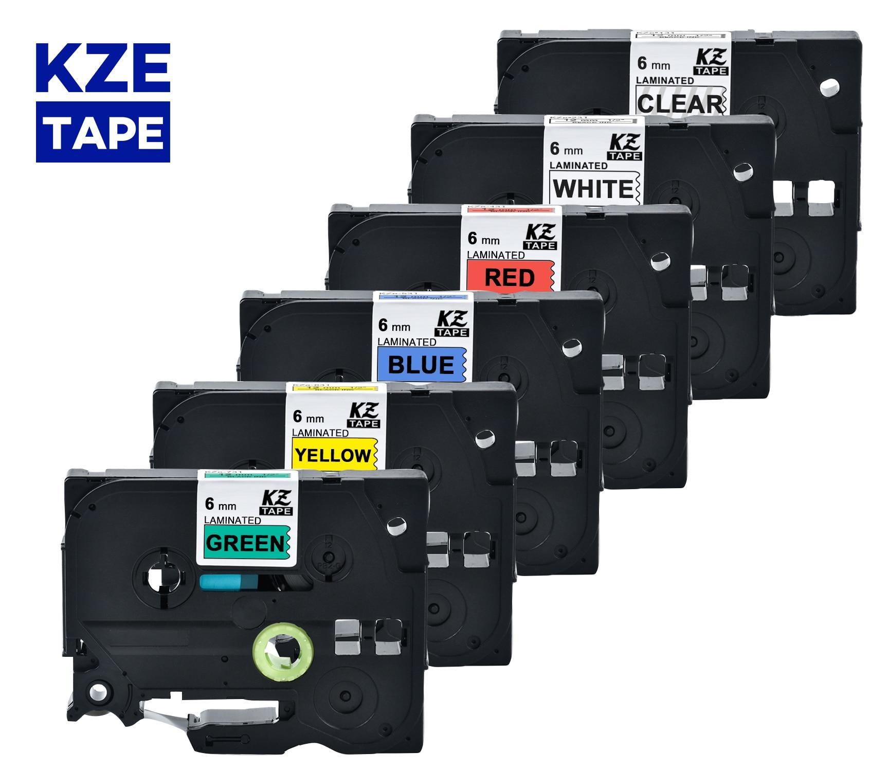 Fita laminada multicolorido da etiqueta da fita da etiqueta de 6mm fita tze para impressoras do irmão p-touch como Tze-211 tze-211 tze 211 tz 211 tz411