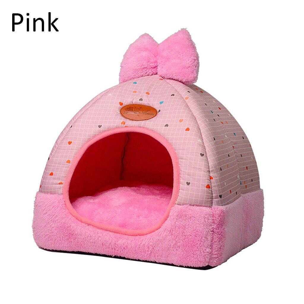 Caseta de invierno para cachorros con bonito diseño de lazo y Cueva cálida para gatos y mascotas adorables, caseta de lana para perros medianos y pequeños, cama blanda para gatos A10
