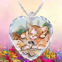 exquisite fashion creative elegant crystal glass shining eyeball woman necklace three kittens pendant charm jewelry 2021 trend
