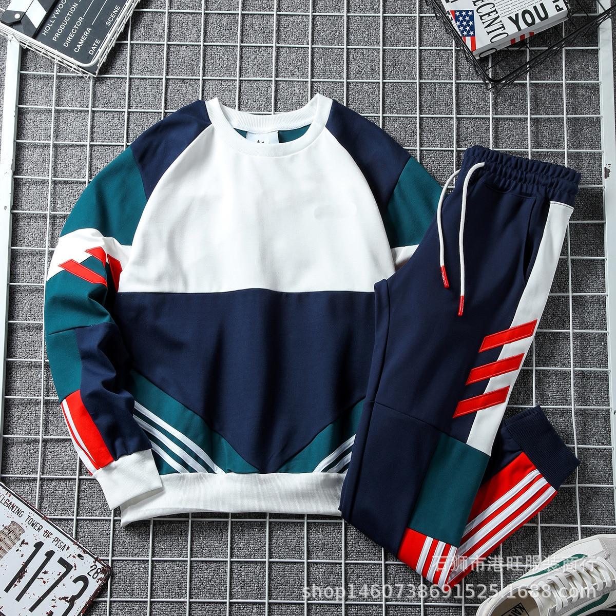 أعواد قطنية شانغ خريف 2021 بدلة رياضية للرجال قميص قطني بكم طويل بدلة ترفيهية ملابس جري 4852 + 3021
