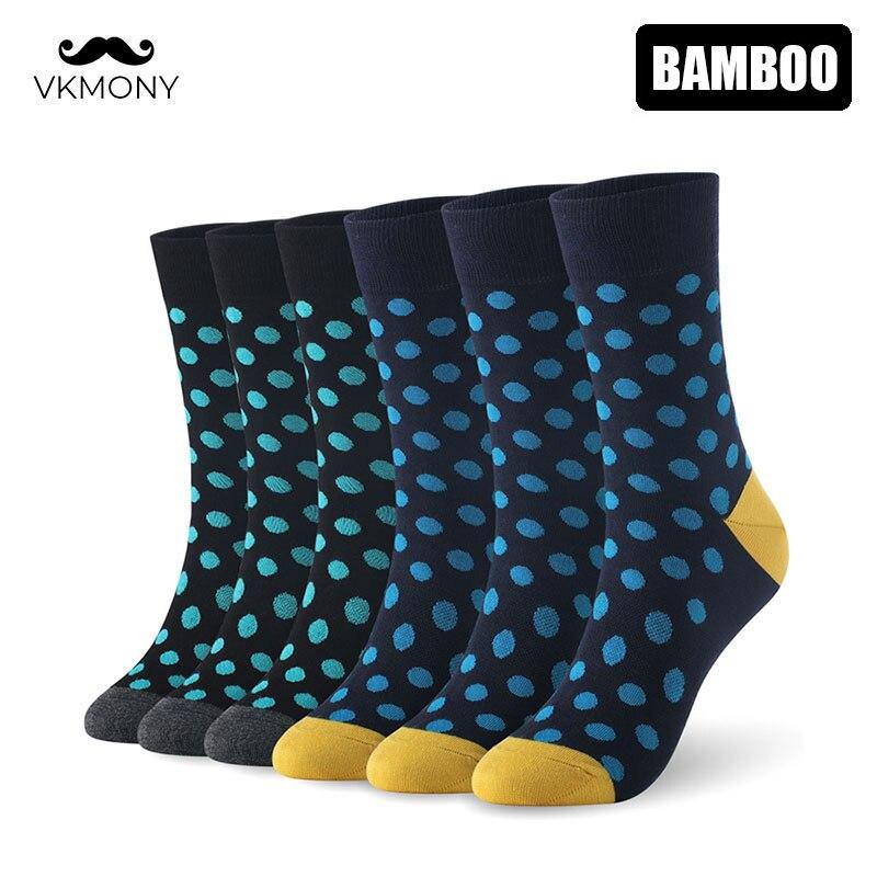 Мужские носки из бамбукового волокна, 6 пар/лот, европейский размер 7-11, 40-46, 1005