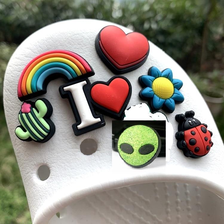 Original JIBZ Children's gift loving heart dog owl dollar shoe charms toys Cartoon PVC beach shoe accessories for kids