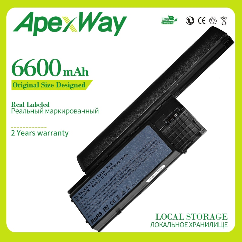 Apexway 6600 mAh بطارية كمبيوتر محمول لديل D620 D630 D631 M2300 KD491 KD492 KD494 KD495 NT379 PC764 PC765 PD685 RD300