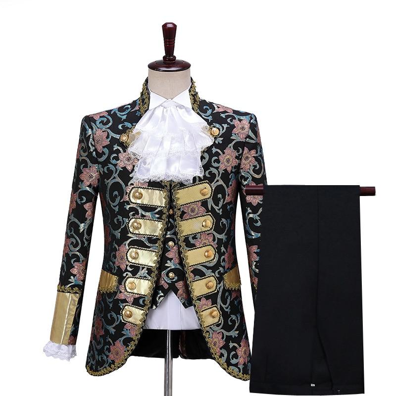 New Mens European Court Dress Costume Retro Stage Drama Prince Hakuba Performan