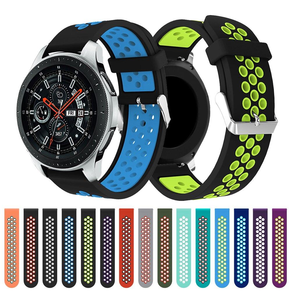 Reloj circular de silicona con agujero para Samsung Galaxy Watch versión 46mm, reloj de repuesto, pulsera, correa para SM-R800 de alta calidad