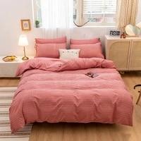 4pcs stripe bean paste color soft war bedding set winter easy care duvet cover flat sheet pillowcase full twin king queen size