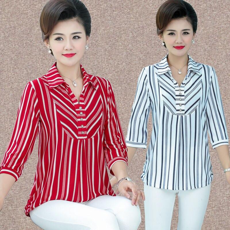 Blusa a rayas para mujer de mediana edad 2020 verano primavera nuevas mangas de tres cuartos camisetas de Madre de talla grande 5XL Tops casuales femeninos W1118