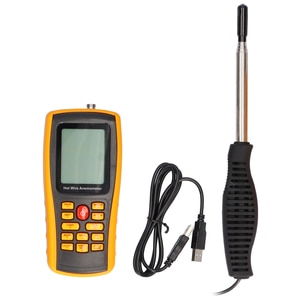 GM8903 3in1 Wind Speed Meter Hot Wire Anemometer with 500 Groups Data Logging LCD Backlight Display 205cm Long Proble Tester