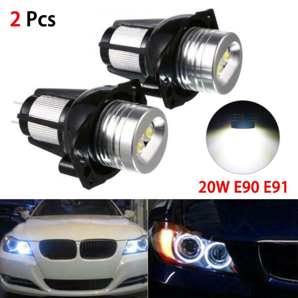 2pcs 20W LED Headlights Angel Eye Halo Ring Lamp Bulbs for BMW E90 E91 05-08
